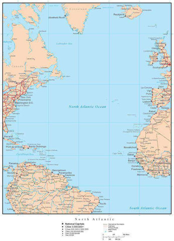 North Atlantic Map with Countries, Capitals, Cities, Roads, and Water Features