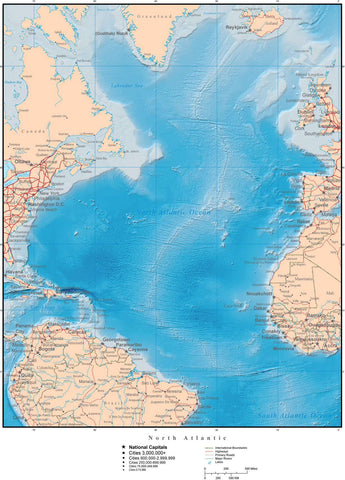 North Atlantic Ocean Terrain map in Adobe Illustrator vector format with Photoshop terrain image N-ATLN-952922