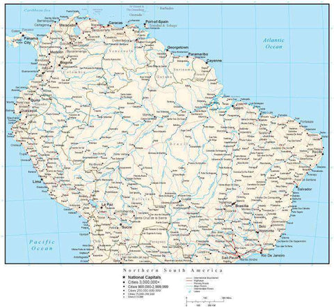 Northern South America Map with Country Boundaries, Capitals, Cities, Roads and Water Features