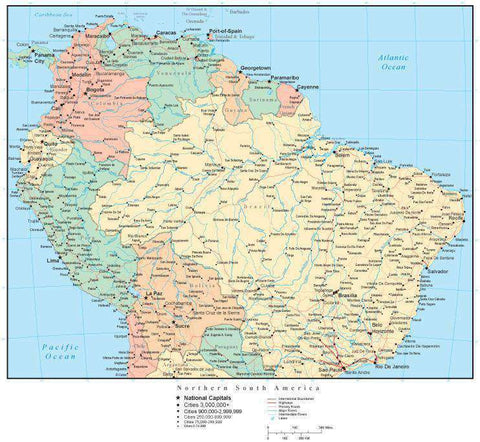 Northern South America Map with Countries, Cities, and Roads – Map ...