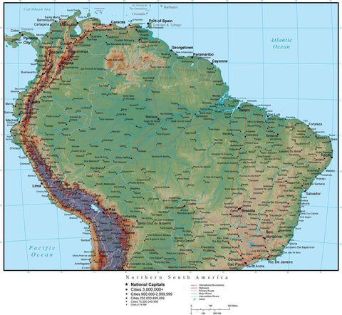 Northern South America Terrain map in Adobe Illustrator vector format with Photoshop terrain image N-SAMR-952913
