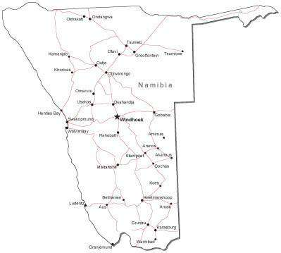 Namibia Black & White Map with Capital, Major Cities, Roads, and Water Features