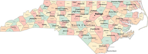Multi Color North Carolina Map with Counties, Capitals, and Major Cities
