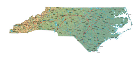 Digital North Carolina map in Fit Together style with Terrain NC-USA-852093