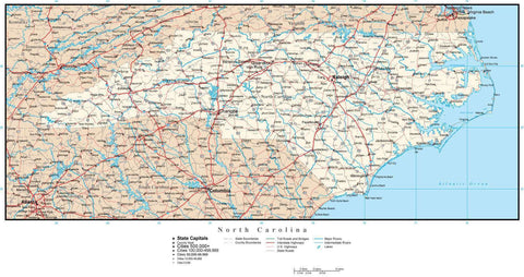 North Carolina Map with Capital, County Boundaries, Cities, Roads, and Water Features