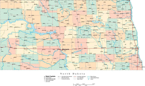 North Dakota State Map - Cut Out Style - with Counties, Cities, County Seats, Major Roads, Rivers and Lakes