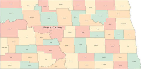 Multi Color North Dakota Map with Counties and County Names