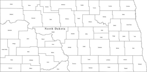 Black & White North Dakota Map with Counties