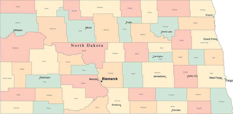 Multi Color North Dakota Map with Counties, Capitals, and Major Cities