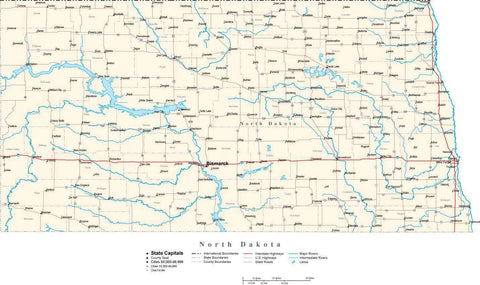 North Dakota Map - Cut Out Style - with Capital, County Boundaries, Cities, Roads, and Water Features
