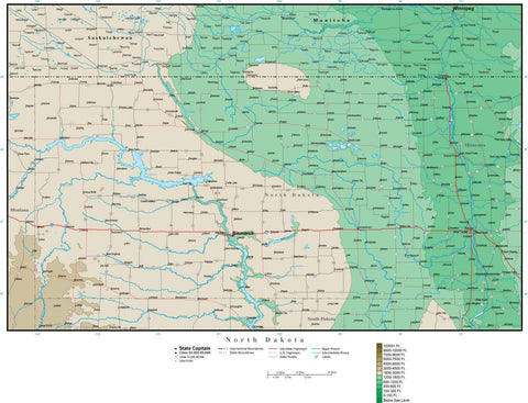 North Dakota Map with Contour Background