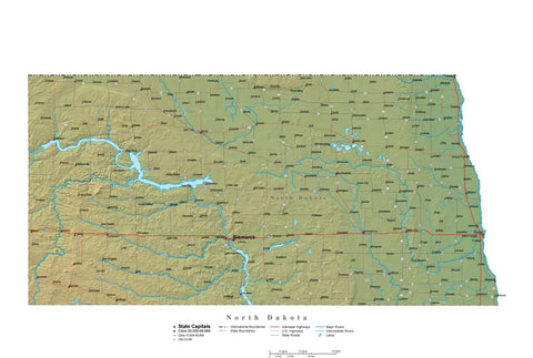 Digital North Dakota State Illustrator cut-out style vector with Terrain ND-USA-241995