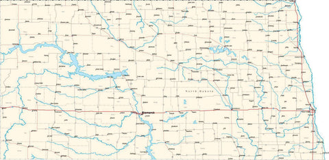 North Dakota State Map - Cut Out Style - Fit Together Series