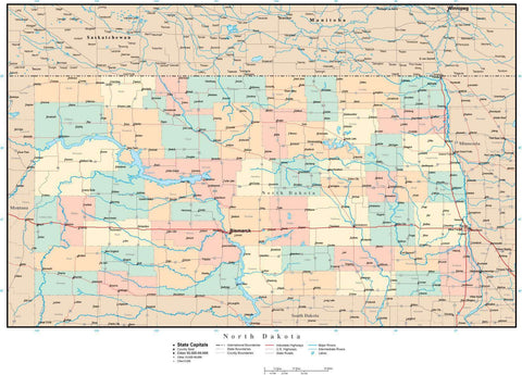 North Dakota Map with Counties, Cities, County Seats, Major Roads, Rivers and Lakes