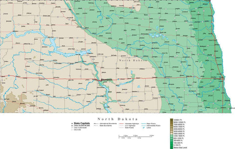 North Dakota Map  with Contour Background - Cut Out Style