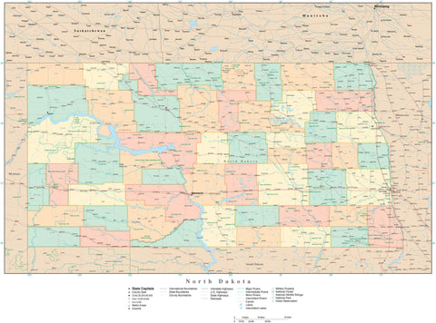 Poster Size North Dakota Map with Counties, Cities, Highways, Railroads, Airports, National Parks and more