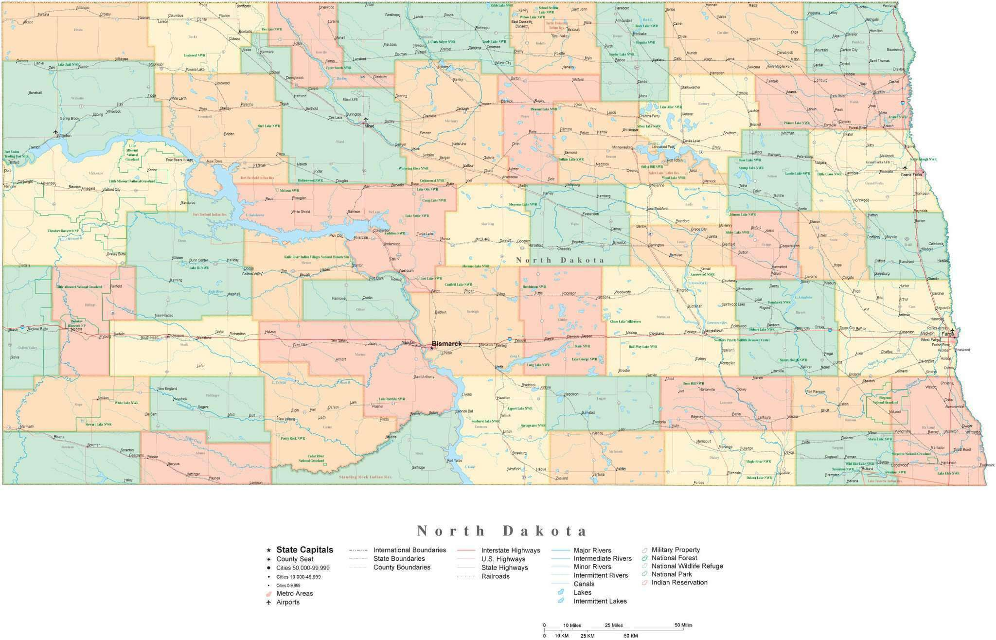 Detailed North Dakota Cut-Out Style Digital Map with Counties, Cities,  Highways, National Parks and more