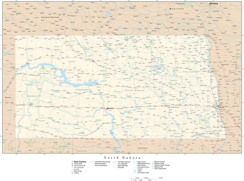Poster Size North Dakota Map with County Boundaries, Cities, Highways, National Parks, and more