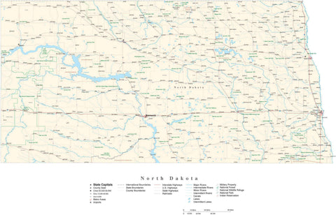 Poster Size North Dakota Cut-Out Style Map with County Boundaries, Cities, Highways, National Parks, and more