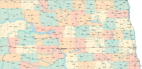 North Dakota State Map - Multi-Color Style - Fit Together Series