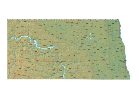 Digital North Dakota map in Fit Together style with Terrain ND-USA-852118