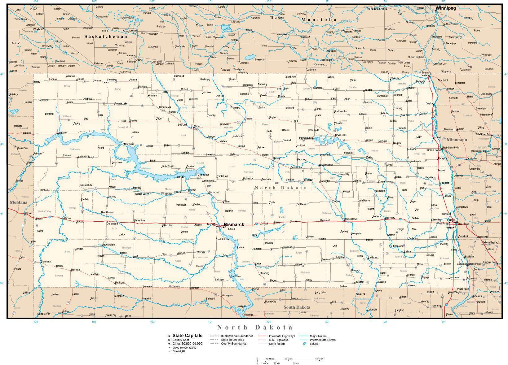 North Dakota Map with Capital, County Boundaries, Cities, Roads, and Water  Features