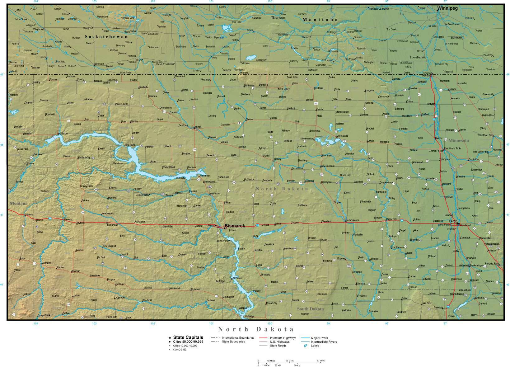 North Dakota State Map Plus Terrain With Cities Roads Map Resources