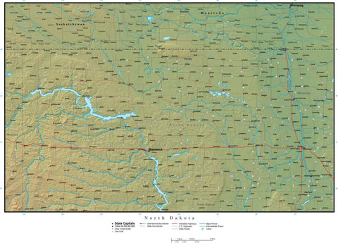 Digital North Dakota Terrain map in Adobe Illustrator vector format with Terrain ND-USA-942232