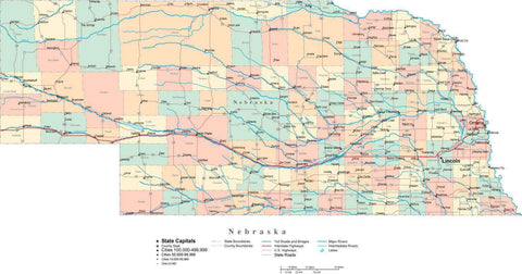 Nebraska State Map - Multi-Color Cut-Out Style - with Counties, Cities, County Seats, Major Roads, Rivers and Lakes