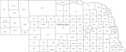 Black & White Nebraska Map with Counties