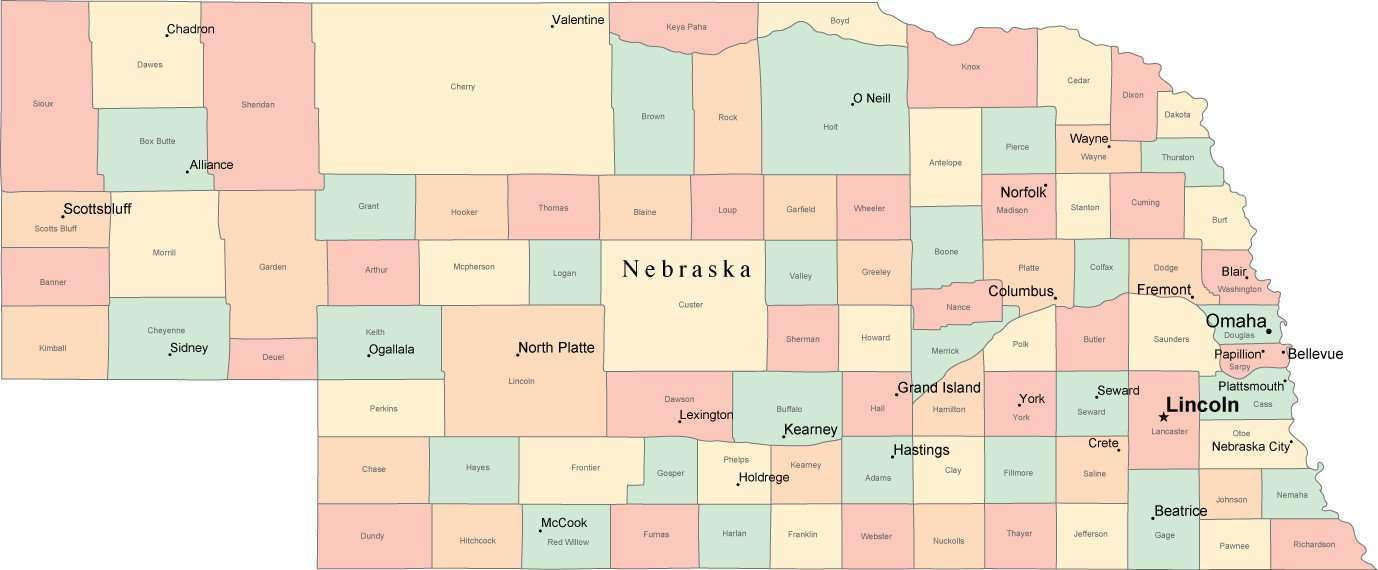 Nebraska Map By County.Multi Color Nebraska Map With Counties Capitals And Major Cities