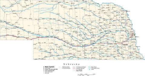 Nebraska Map - Cut Out Style - with Capital, County Boundaries, Cities, Roads, and Water Features