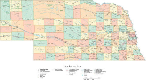 Poster Size Nebraska Cut-Out Style Map with Counties, Cities, Highways, National Parks and more