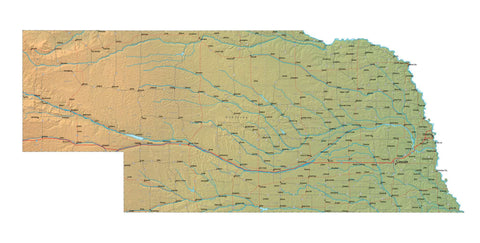 Digital Nebraska map in Fit Together style with Terrain NE-USA-852098
