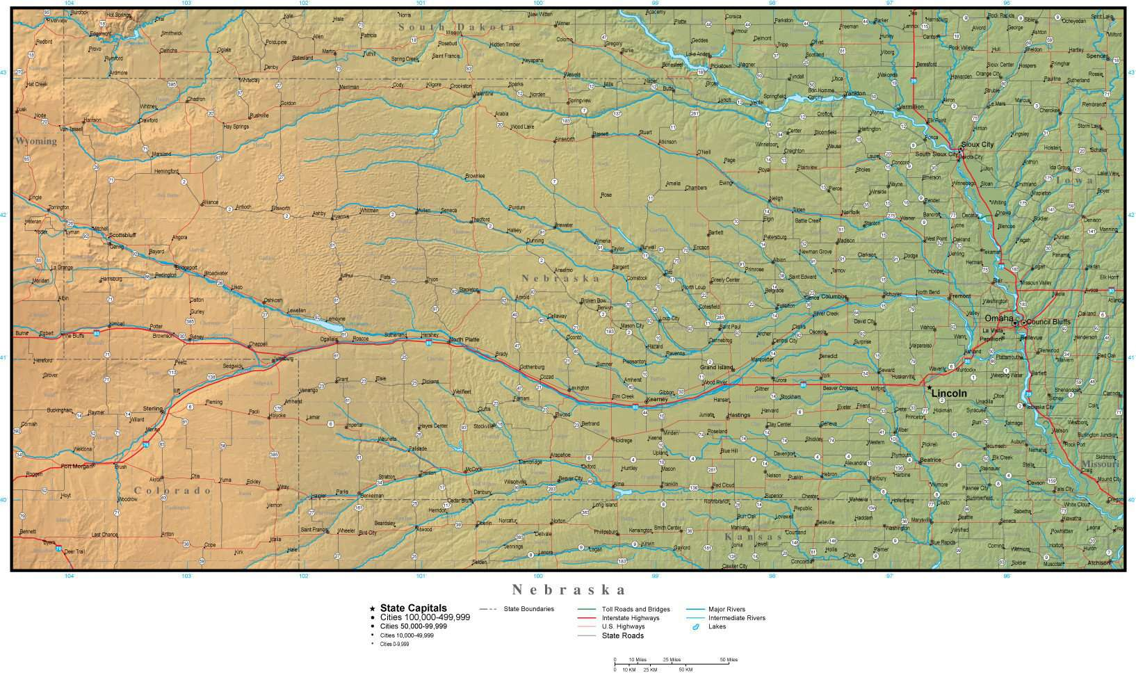 Nebraska State Map Plus Terrain With Cities Roads Map Resources