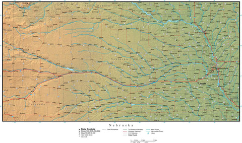 Digital Nebraska Terrain map in Adobe Illustrator vector format with Terrain NE-USA-942235