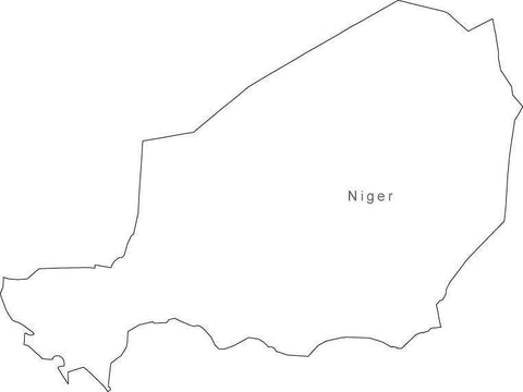 Digital Black & White Niger map in Adobe Illustrator EPS vector format