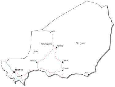 Niger Black & White Map with Capital, Major Cities, Roads, and Water Features