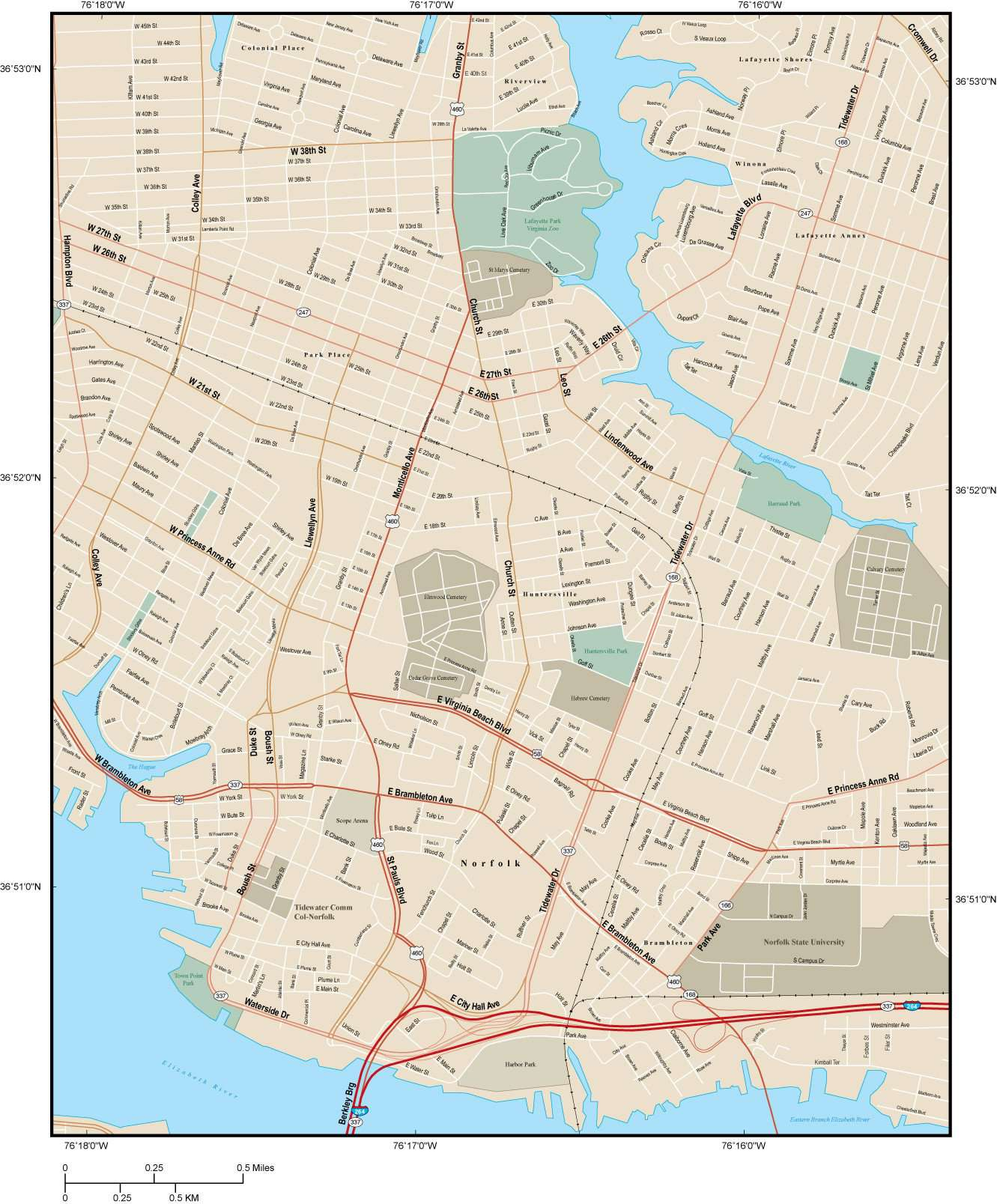 Norfolk VA Map - City Center - 9 square miles - with Local Streets