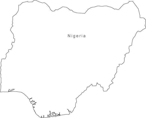 Digital Black & White Nigeria map in Adobe Illustrator EPS vector format