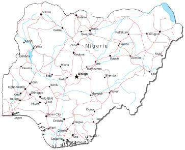 Nigeria Black & White Map with Capital, Major Cities, Roads, and Water Features