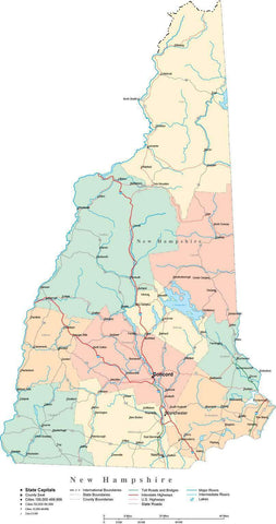 New Hampshire State Map - Multi-Color Cut-Out Style - with Counties, Cities, County Seats, Major Roads, Rivers and Lakes