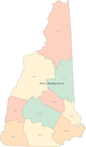 Multi Color New Hampshire Map with Counties and County Names