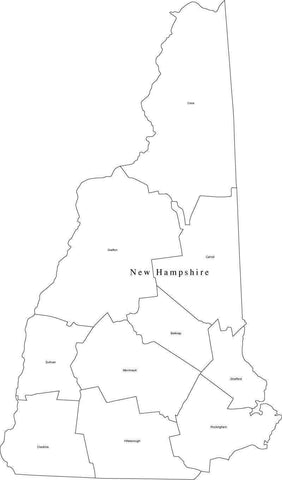 Black & White New Hampshire Map with Counties