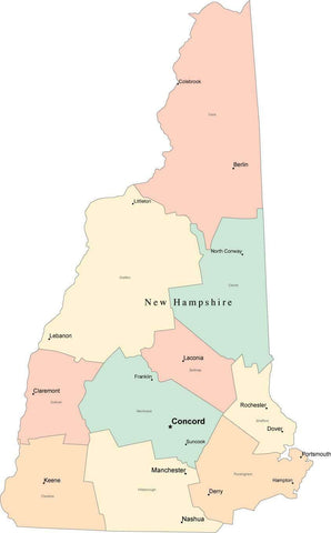 Multi Color New Hampshire Map with Counties, Capitals, and Major Cities