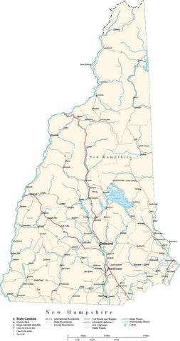 New Hampshire Map - Cut Out Style - with Capital, County Boundaries, Cities, Roads, and Water Features