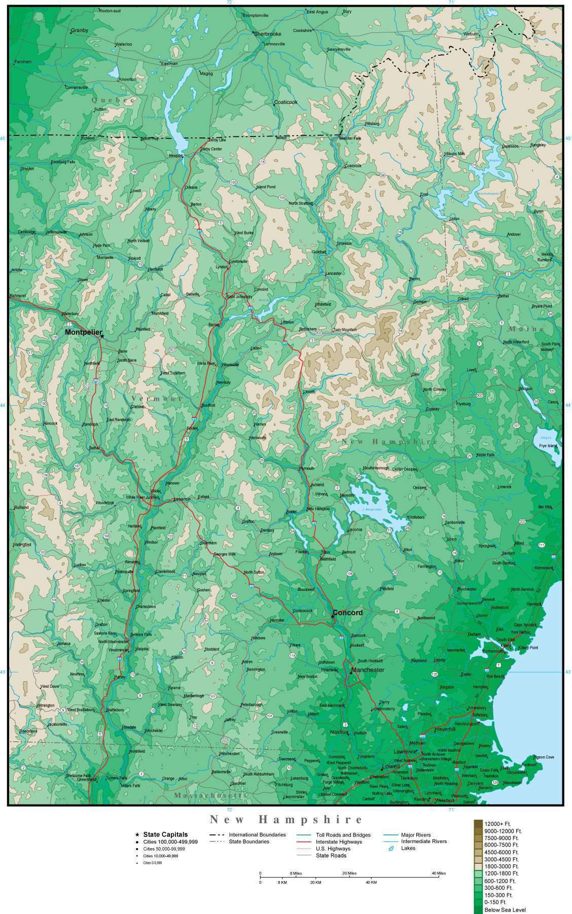 Nh Usa Map.Digital New Hampshire Contour Map In Adobe Illustrator Vector Format