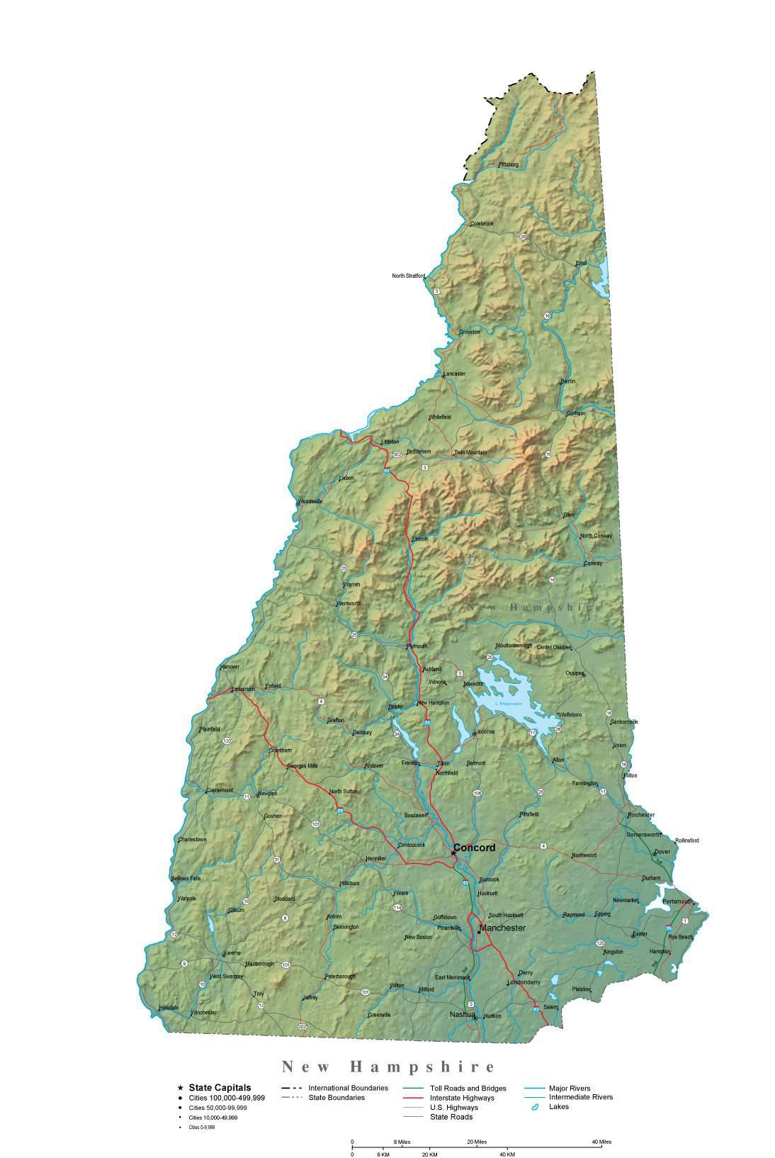 New Hampshire Illustrator Vector Map With Cities Roads And