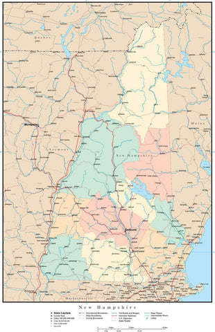 New Hampshire Map with Counties, Cities, County Seats, Major Roads, Rivers and Lakes