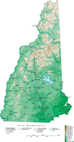 New Hampshire Map  with Contour Background - Cut Out Style